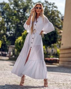 Długa sukienka ażurowa