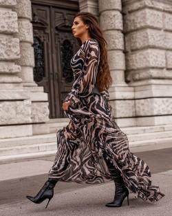AFRICAN ZEBRA DRESS - MAXI...