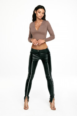 ZIPPER LEATHER PANTS