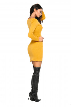 sweter sukienka żółta