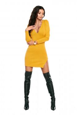 żółta sweater dress