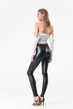 BASIC PU LEGGINS - CZARNE...